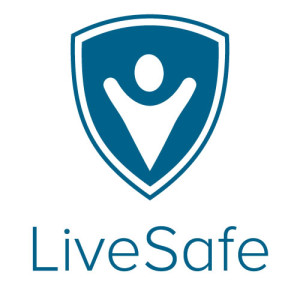 LiveSafe logo - a shield shape with an abstract image of a person inside it.