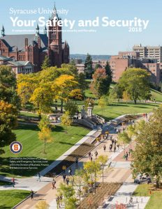 Cover of Annual Security Report that includes a picture of the campus and students walking on the promenade