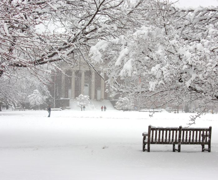 Winter Quad Hendricks Chapel Snow