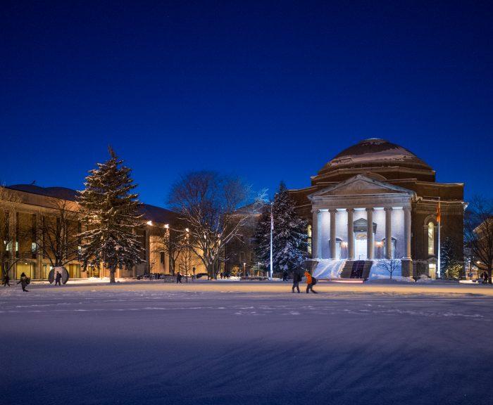 Winter Night Evening Quad Hendricks Chapel Exterior Campus Scenes