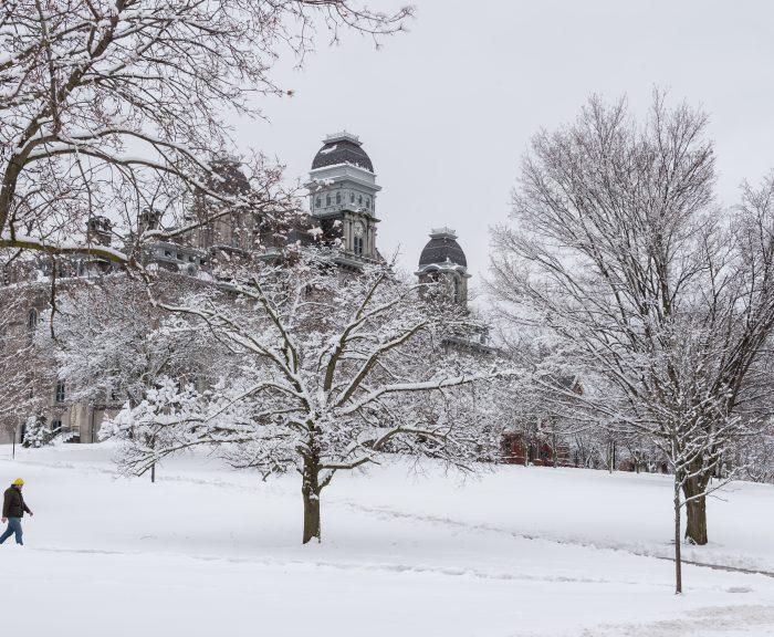 Campus Scenes Winter Snow Hall Of Languages Exterior