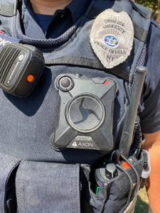 Body camera affixed to a peace officer's uniform
