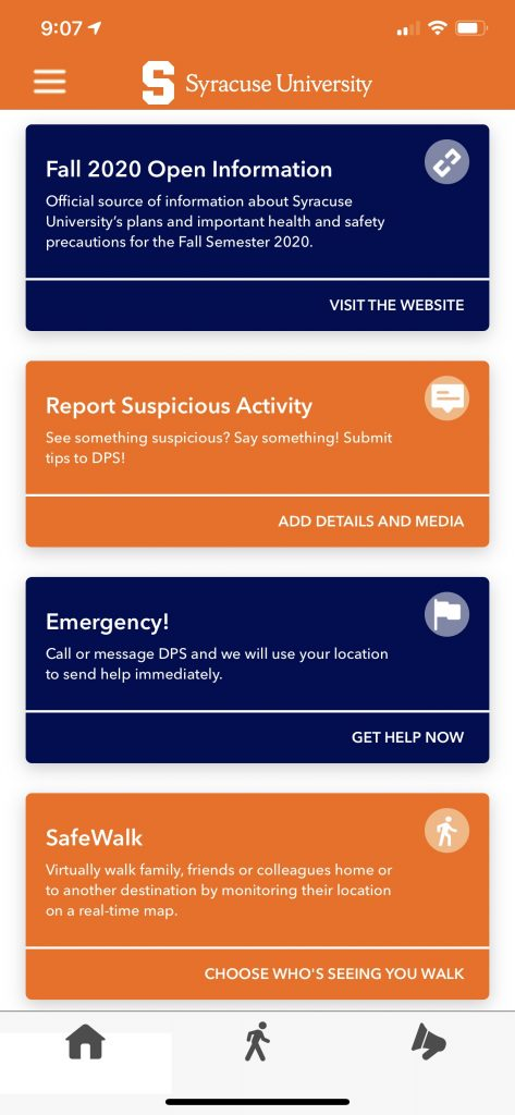 Screenshot of the LiveSafe app in the new card style format