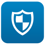 Blue app shaped icon with white shield