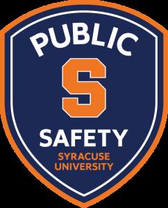 Syracuse University Public Safety amour shaped blue and orange patch